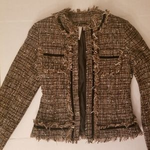 SOLO MODA Gold and Black Tweed Fringe Jacket